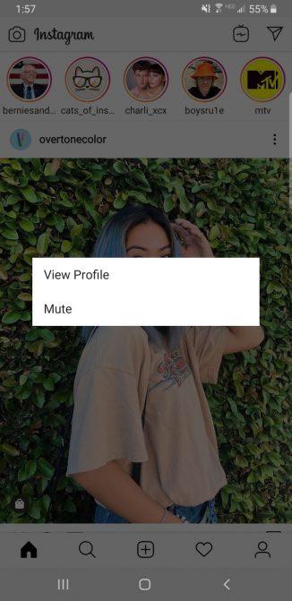 Tắt bản tin của ai đó trên Instagram
