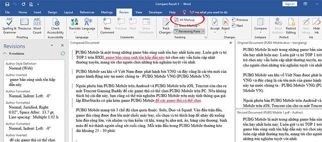 Hiển thị chế độ so sánh trực quan trên Microsoft Word