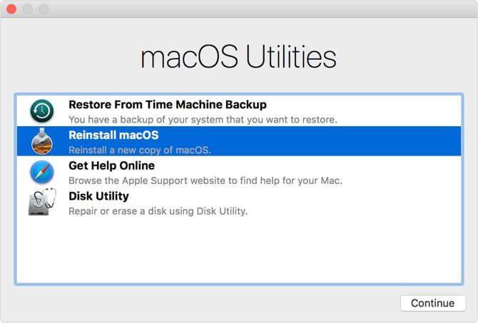 Tùy chọn cài đặt lại macOS
