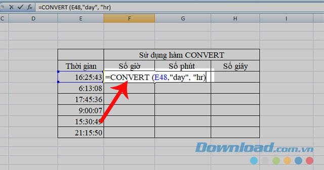 Sử dụng hàm CONVERT để chuyển đổi giá trị sang số giờ
