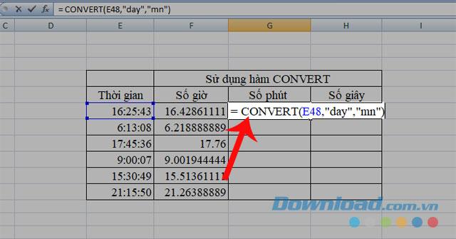Sử dụng hàm CONVERT để chuyển đổi giá trị sang số phút