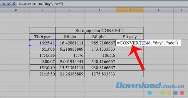 Sử dụng hàm CONVERT để chuyển đổi giá trị sang số giây