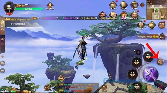 Nhấn biểu tượng để cưỡi Thiên kiếm