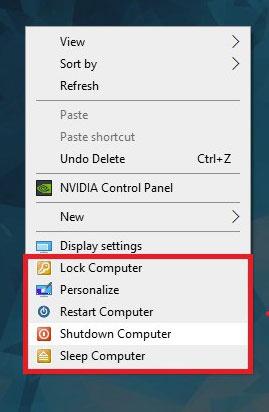 Chuột phải sau khi thêm tính năng tắt máy trên Windows 10