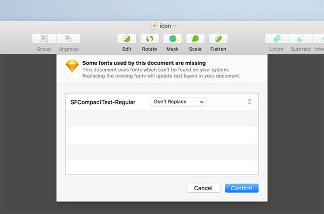 Sketch app thông báo font chữ thiếu và đưa ra đề xuất thay thế hoặc tải font
