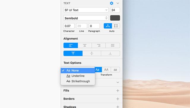 Các tùy chọn phong phú trong phần mềm đồ họa Sketch để tùy chỉnh chữ