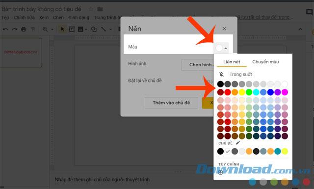 Ấn vào mục màu và chọn màu sắc cho hình nền