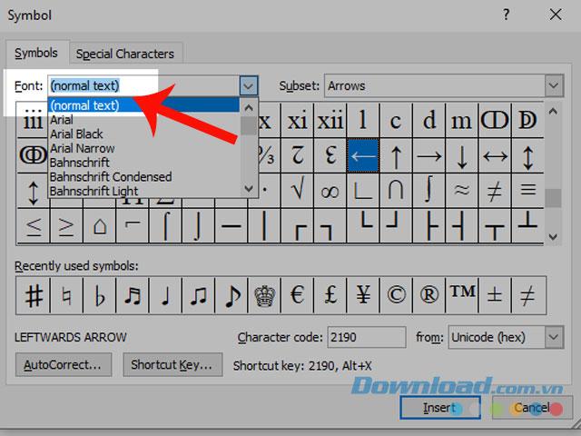 Chọn (normal text) tại mục Font