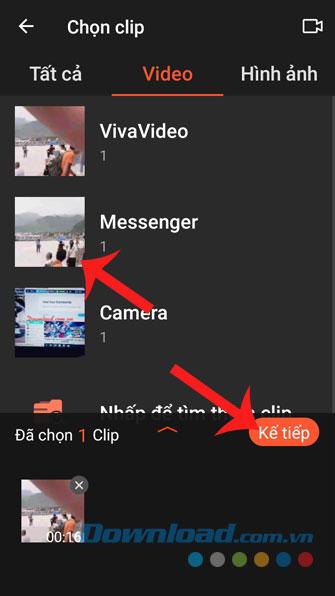 Chọn video và ấn nút Kế tiếp