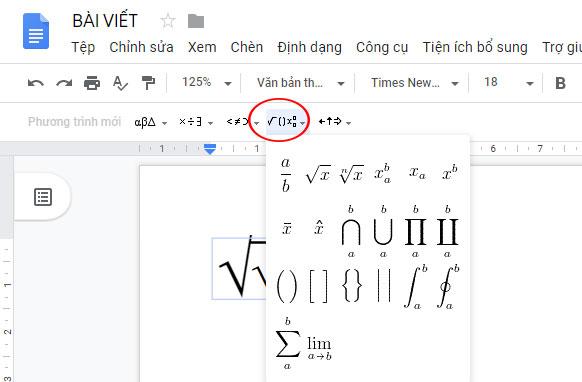 Công cụ soạn thảo văn bản trên Google Docs