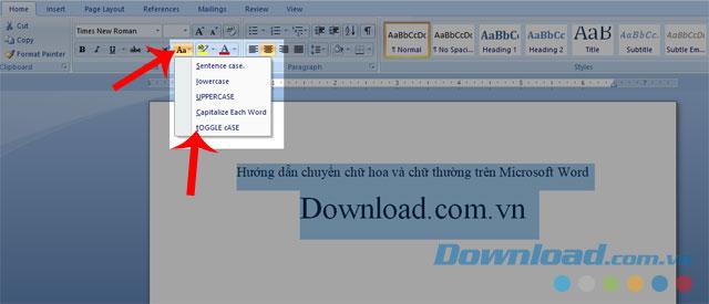 Ấn vào biểu tượng Aa và chọn mục chuyển chữ cái