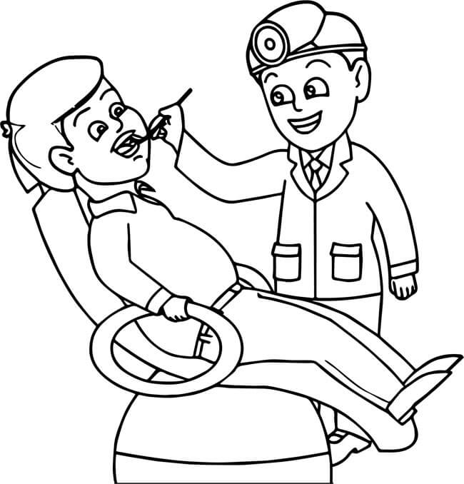 Tranh tô màu nghề bác sĩ nha khoa