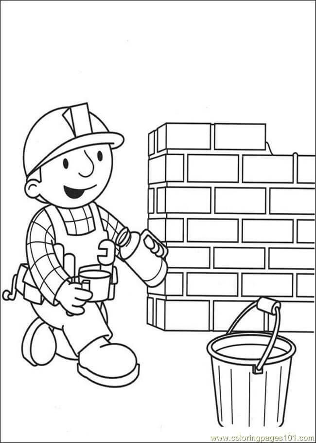 Tranh tô màu nghề thợ xây
