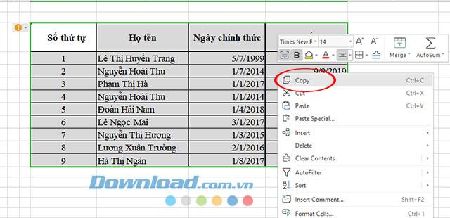 Chèn bảng tính Excel vào Microsoft Word