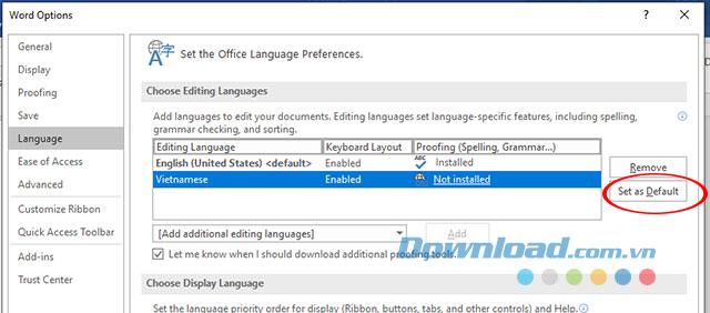 Cài đặt ngôn ngữ nhập trên Microsoft Word