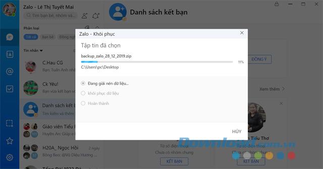 Quá trình khôi phục dữ liệu Zalo