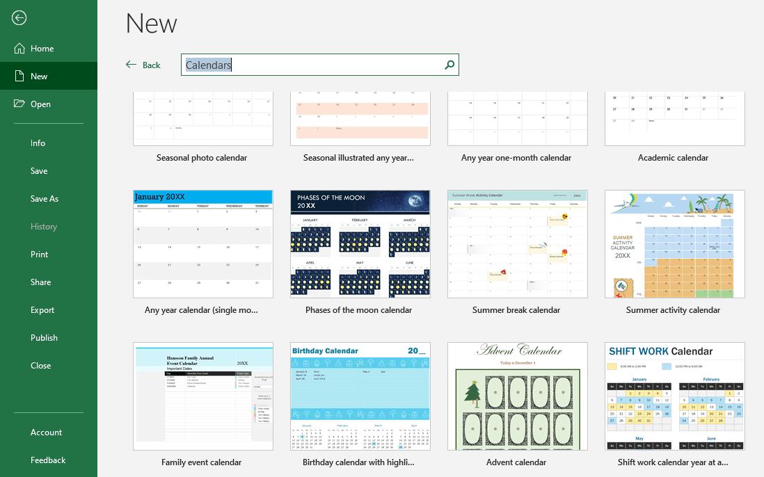 Sử dụng mẫu lịch có sẵn của Microsoft