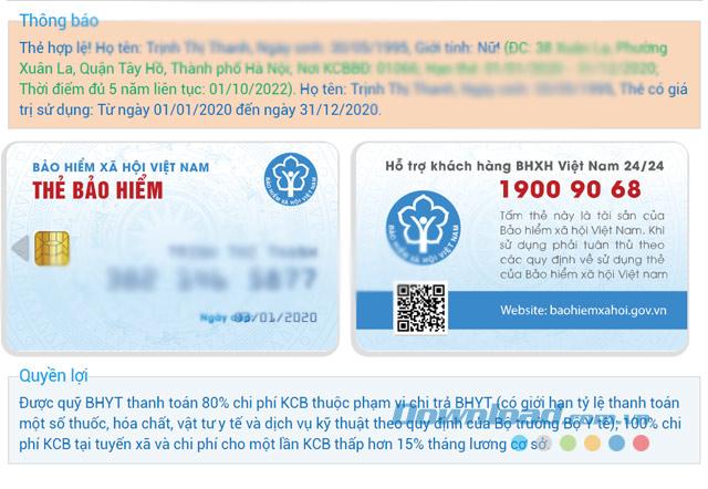 Kết quả tra cứu giá trị sử dụng thẻ BHYT