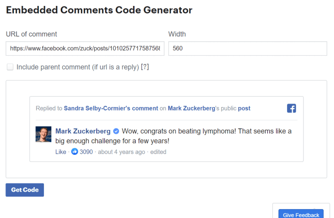 Wiget nhúng bình luận vào Facebook
