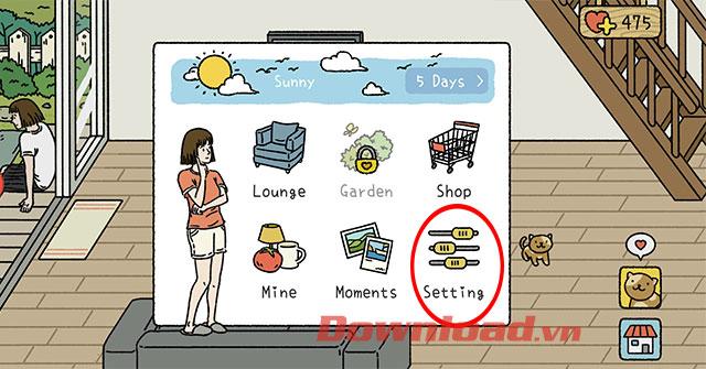 Tùy chỉnh các cài đặt trong game Adorable Home