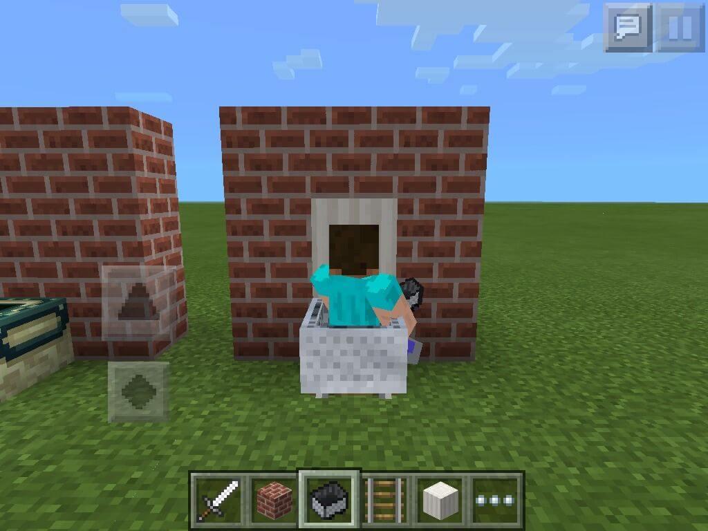 Ngồi vào bồn cầu trong Minecraft