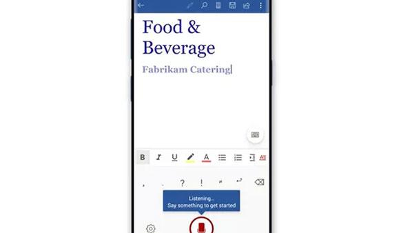 Nhập văn bản bằng giọng nói trên Microsoft Office Mobile mới