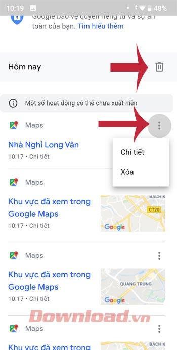 Xóa lịch sử Google Maps