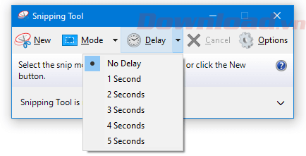 Chụp ảnh màn hình có độ trễ với Snipping Tool
