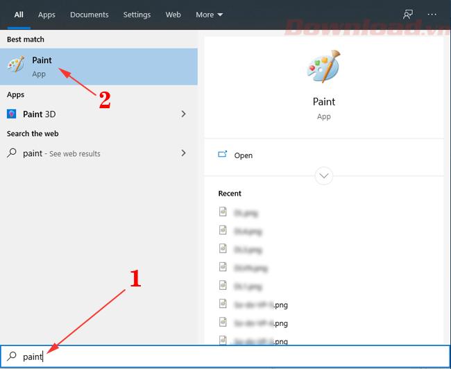 Tìm và mở Paint trên Windows
