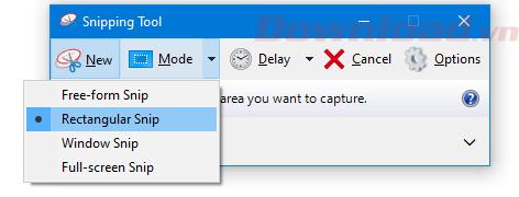 Tùy chọn trong mục Mode của Snipping Tool