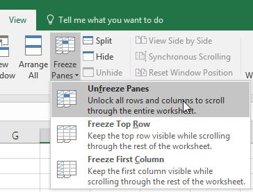 Bỏ đóng băng bảng trong Excel