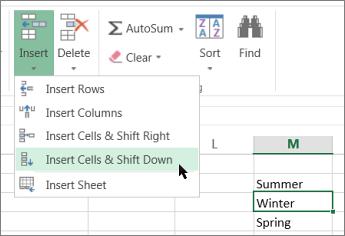 Chèn ô trong Excel