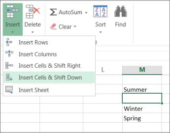 Chèn ô lên hoặc xuống trong Excel