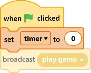 Thêm khối code lập lại thời gian cho đồng hồ bấm giờ trong Scratch