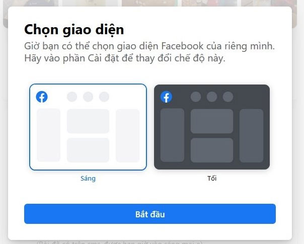 Chọn giao diện Facebook