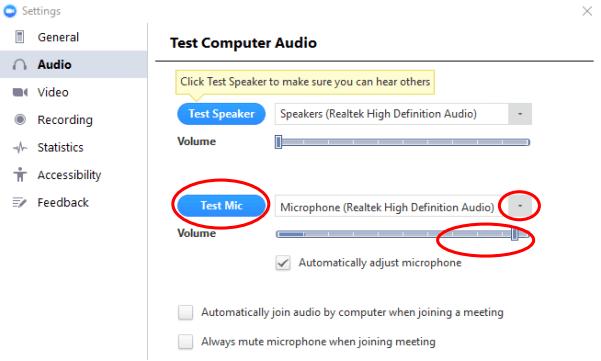 Test Mic trên ứng dụng Zoom