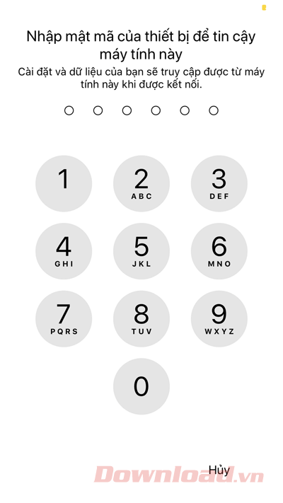 Enter the unlock password to allow the computer to access the iPhone
