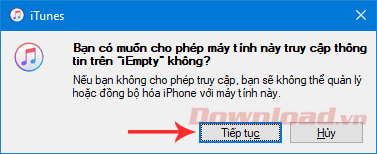 Confirm allowing the computer to access iPhone
