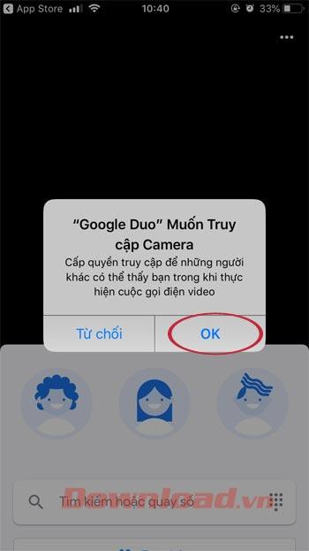 Đồng ý cho Google Duo truy cập Camera