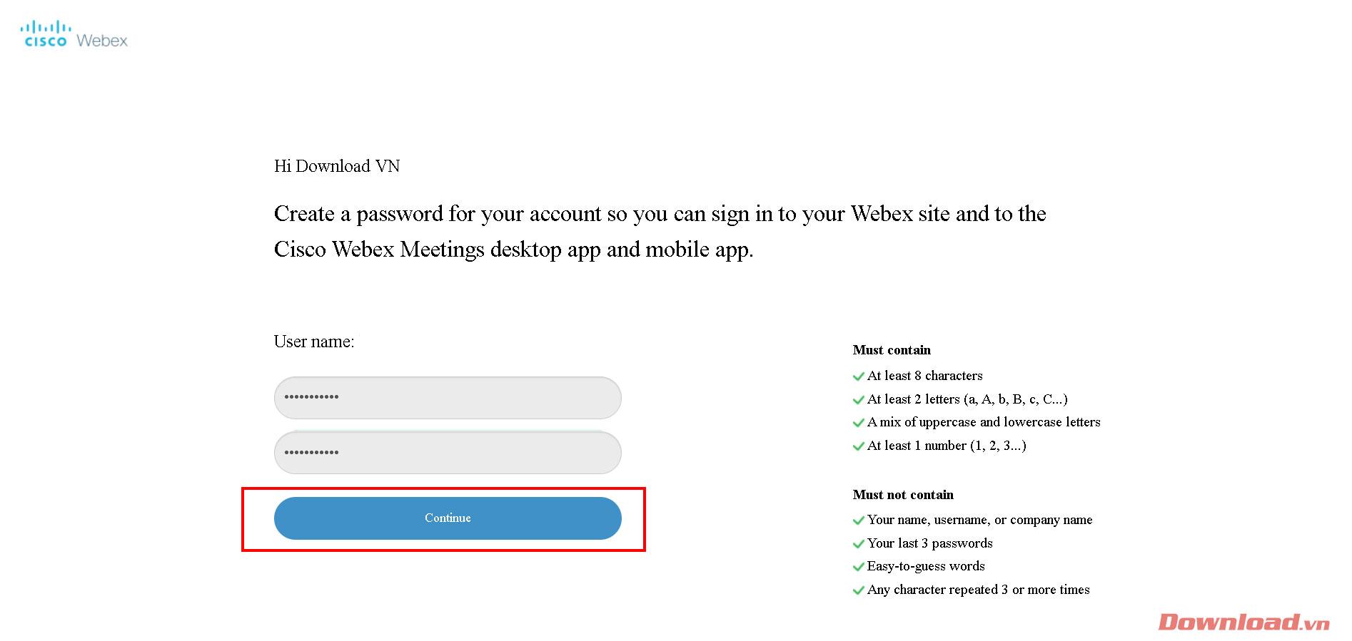 tạo mật khẩu đăng nhập.