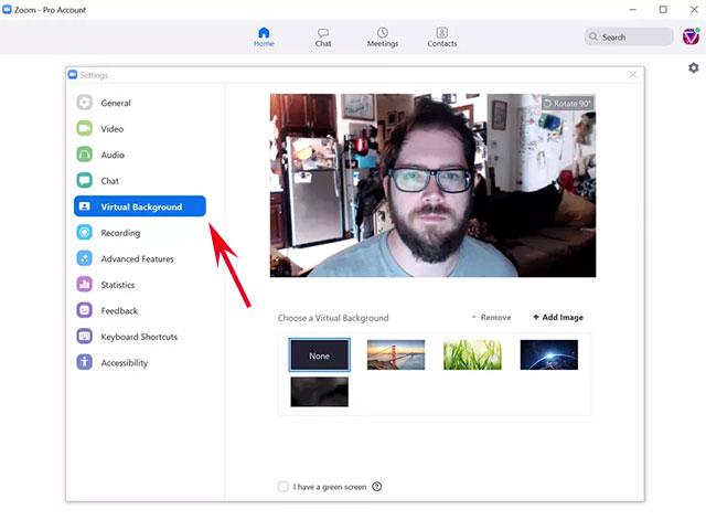 Chọn Virtual Background ở menu bên trái