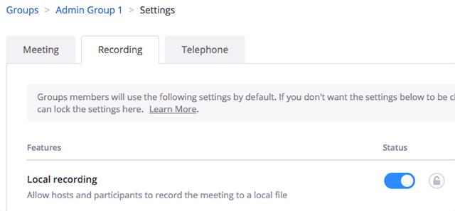 Trong tab Recording, điều hướng tới tùy chọn Local Recording và bật nó