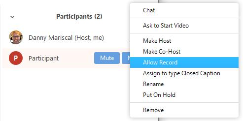 Chỉ định quyền ghi video cho người tham gia