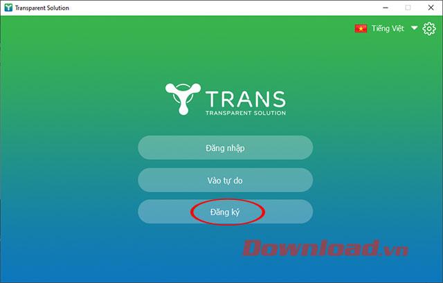 Giao diện ban đầu khi truy cập TranS trên PC