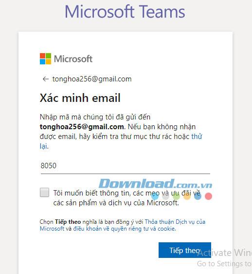 Mở email và lấy mã xác minh, nhập mã