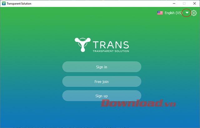 Giao diện chính của ứng dụng TranS sau khi cài đặt