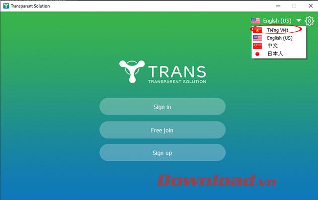 Chuyển đổi ngôn ngữ trên ứng dụng TranS