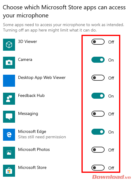 Choose which Microsoft Store apps can access your microphone.