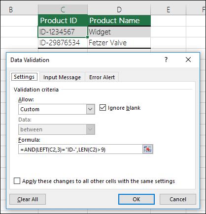 Ví dụ công thức trong xác thực dữ liệu ở Excel