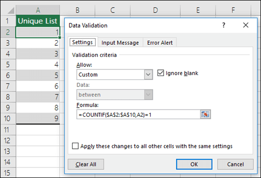 Ví dụ 4 về công thức trong xác thực dữ liệu ở Excel
